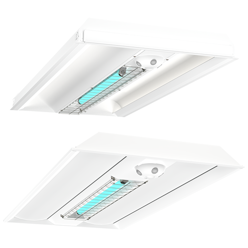 Grid Ceiling UV-C Recessed Disinfection Hybrid Fixtures Direct and Indirect XtraLight LED Solutions